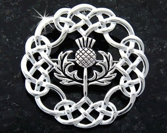 Celtic Weave Thistle of Scotland Pewter Brooch