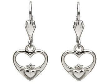 Claddagh Earrings, Celtic Jewelry, Irish Jewelry, Friendship Gift, Heart Jewelry, Girlfriend Gift, Wife Gift, Bride Gift, Ireland Jewelry