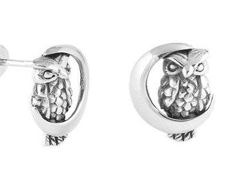 Owl Stud Earrings, Barn Owl Earrings, Norse Jewelry, Wiccan Jewelry, Nature Jewelry, Mom Gift, Sister Gift, Moon Earrings, Pagan Jewelry