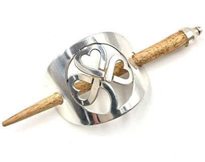 Shamrock Hair Slide, Celtic Barrette, Irish Jewelry, Clover Hair Clip, Celtic Bun Holder, Celtic Knot Clip, Ireland Gift, Irish Dance Gift