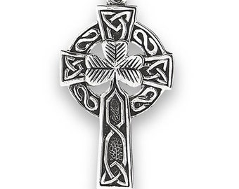 Celtic Cross Necklace, Celtic Jewelry, Unique Cross, Scotland Cross, Irish Cross, Shamrock Cross, Ireland Jewelry