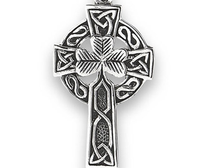 Celtic Cross Necklace, Celtic Jewelry, Stainless Steel Cross, Unique Cross, Scotland Cross, Irish Cross, Father's Day Gift, Shamrock Cross