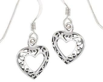 Celtic Heart Earrings, Love Knot Jewelry, Anniversary Gift, Celtic Jewelry, Bridal Jewelry, Heart Jewelry, Ireland Jewelry, Scotland Jewelry