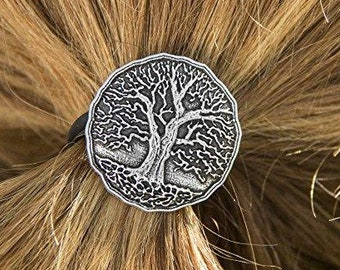 Tree of Life Ponytail Holder, Celtic Jewelry, Norse Jewelry, Celtic Hair Clip, Viking Jewelry, Graduation Gift, Retirement Gift, Mom Gift