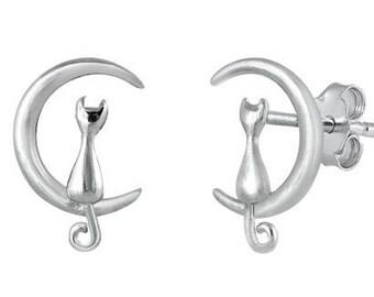 Cat Stud Earrings, Moon Earrings, Wiccan Jewelry, Animal Jewelry, Nature Jewelry, Mom Gift, Sister Gift, Moon Earrings, Pagan Jewelry