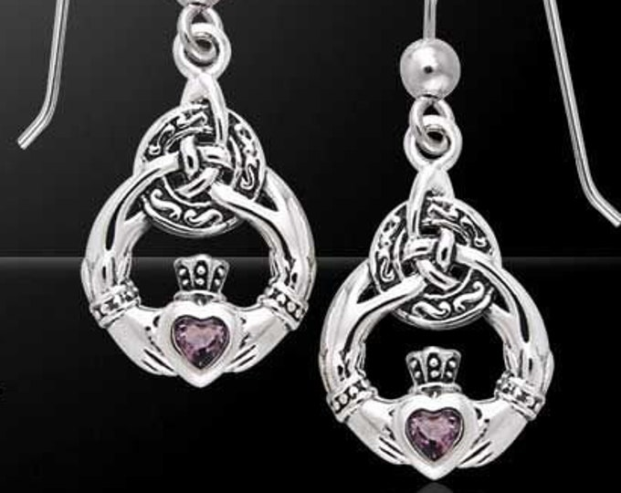 Claddagh Earrings, Celtic Jewelry, Irish Jewelry, Friendship Gift, Amethyst Jewelry, Heart Jewelry, May Birthstone, Gift for Her, Bridal