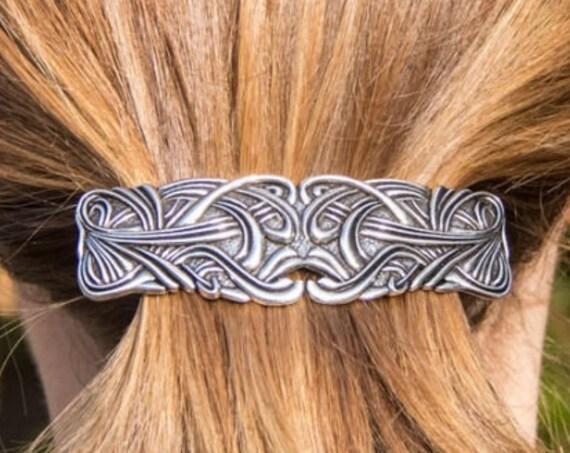 Celtic Love Knot Hair Clip, Celtic Barrette, Irish Jewelry, Pagan Jewelry, Friendship Gift, Norse Jewelry, Animal Barrette, Hair Slide Gift