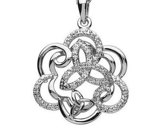 Trinity Knot Bloom Celtic Sterling Silver Necklace