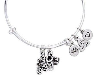 Irish Dance Bracelet, Celtic Jewelry, Irish Jewelry, Dance Jewelry, Ghillies Jewelry, Ireland Gift, Sister Gift, Mom Gift, Triquetra