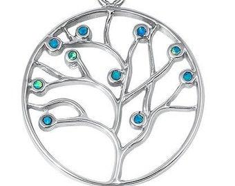 Tree of Life Necklace, Celtic Necklace, Norse Jewelry, Opal Jewelry, Anniversary Gift, Bridal Jewelry, Irish Jewelry, Yoga Jewelry, Nature