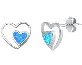 Double Heart Stud Earrings, Irish Jewelry, Celtic Jewelry, Anniversary Gift, Opal Jewelry, Stud Earrings, Mom Gift, Sister Gift, Wife Gift