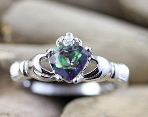Claddagh Ring, Celtic Jewelry, Irish Jewelry, Mystic Topaz Jewelry, Irish Ring, Heart Jewelry, Anniversary Gift, Bridal Jewelry