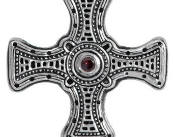 Silver Saint Cuthbert's Celtic Cross Necklace