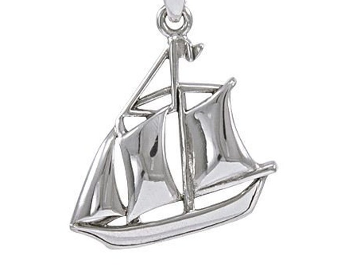 Schooner Necklace, Nautical Jewelry, Mom Gift, Beach Jewelry, Ship Jewelry, Friendship Gift, Best Friend Gift, Anniversary Gift, Retirement