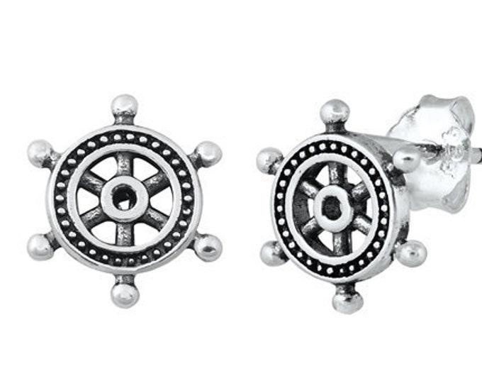 Ship's Helm Earrings, Friendship Jewelry, Nautical Jewelry, Anniversary Gift, Inspirational Jewelry, Gift for Her, Christian Jewelry