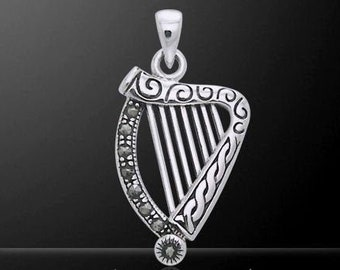 Harp Necklace, Irish Jewelry, Celtic Jewelry, Music Gift, Ireland Gift, Celtic Necklace, Musical Instrument Necklace, Sister Gift, Mom Gift