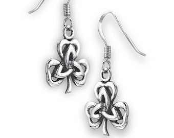 Shamrock Earrings, Celtic Jewelry, Trinity Knot Jewelry, Celtic Knot Jewelry, Irish Jewelry, Wiccan Jewelry, Clover Jewelry, Ireland Gift