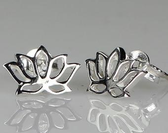 Lotus Stud Earrings, Flower Stud Earrings, Boho Jewelry, Wiccan Jewelry, Yoga Jewelry, Mom Gift, Girlfriend Gift, Anniversary Gift