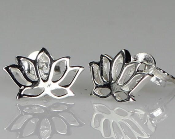 Lotus Stud Earrings, Flower Stud Earrings, Boho Jewelry, Yoga Jewelry, Mom Gift, Girlfriend Gift, Anniversary Gift, Friendship Gift