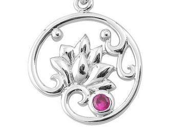 Lotus Necklace, Flower Jewelry, Garnet Necklace, Nature Jewelry, Mom Gift, Graduation Gift, Celtic Jewelry, Girlfriend Gift