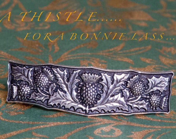 Thistle Hair Clip, Celtic Barrette, Scotland Jewelry, Pagan Jewelry, Friendship Gift, Wiccan Jewelry, Hair Jewelry, Animal Barrette