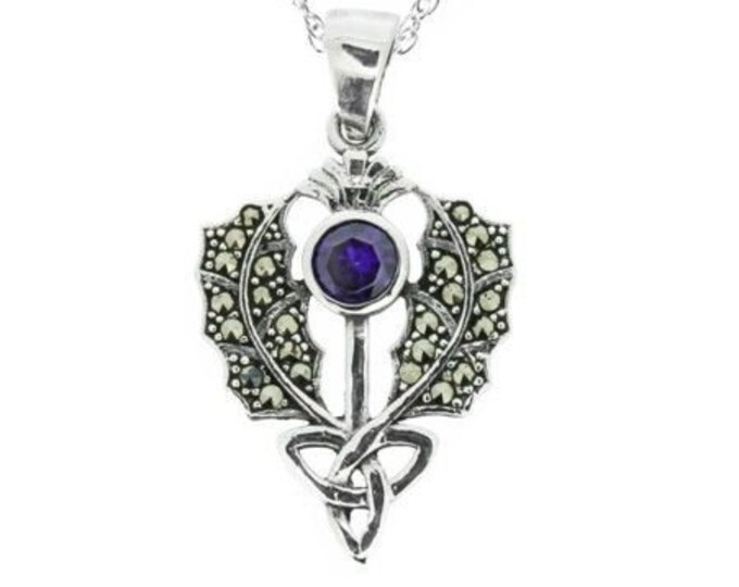 Trinity Knot Thistle Necklace, Scotland Jewelry, Amethyst, Marcasite Jewelry, Mother's Day, Graduation Gift, Celtic Jewelry, Nature Necklace