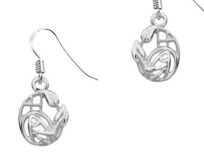 Rose Earrings, Scotland Jewelry, Mackintosh Jewelry, Art Deco Jewelry, Anniversary Gift, Stud Earrings, Nature Jewelry, Art Deco Jewelry