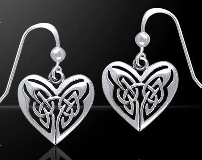 Celtic Heart Earrings, Celtic Knot Earrings, Anniversary Gift, Celtic Jewelry, Bridal Jewelry, Gift for Her, Norse Jewelry, Love Knot Gift