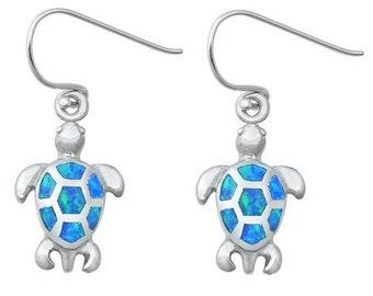 Turtle Earrings, Celtic Jewelry, Animal Jewelry, Beach Jewelry, Opal Jewelry, Nature Jewelry, Anniversary Gift, Graduation Gift, Nautical