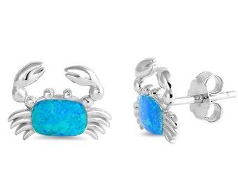 Crab Stud Earrings, Nautical Jewelry, Celtic Jewelry, Anniversary Gift, Opal Jewelry, Stud Earrings, Mom Gift, Sister Gift, Wife Gift