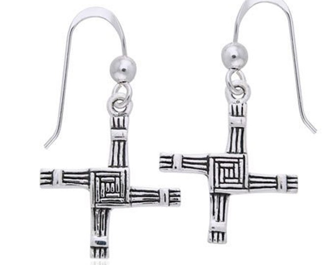 Saint Bridget's Cross Earrings, Irish Jewelry, Gift for Her, Bride Gift, Saint Brigit, Wiccan Jewelry, Pagan Jewelry, Spiritual Jewelry