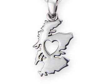 Scotland Necklace, Outlander Jewelry, Traveler Gift, Gift for Her, Heart Jewelry, Celtic Jewelry, Scottish Pendant, Map Jewelry