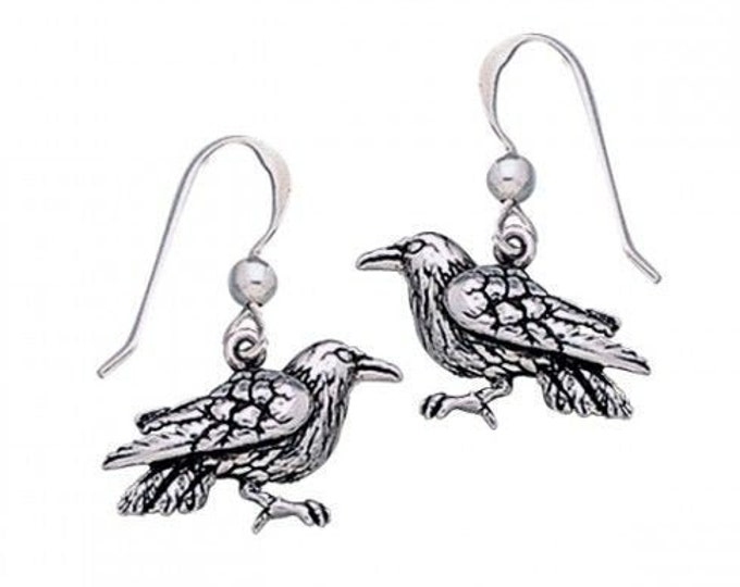 Raven Celtic Earrings, Wiccan Jewelry, Crow Jewelry, Black Bird Jewelry, Bird Jewelry, Pagan Jewelry, Nature Lover, Poe Jewelry, Gothic Gift