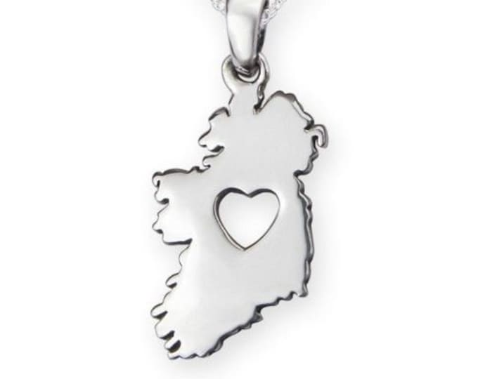 Ireland Celtic Necklace, Ireland Map, Celtic Jewelry, Heart Pendant, Gift for Her, Irish Bride, St. Patrick's Day, Ireland Forever