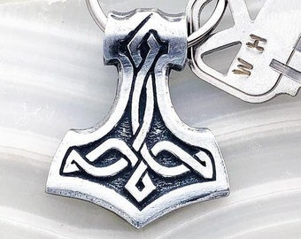 Thor's Hammer Key Chain, Viking Jewelry, Father's Day Gift, Anniversary, Gift for Him, Boyfriend, Brother, Celtic Tree, Groom, Best Man