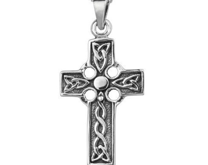 Celtic Cross Necklace, Communion Cross, Bridal Jewelry, Cross Pendant, Irish Cross, Christian Jewelry, Catholic Jewelry, Religious Gift
