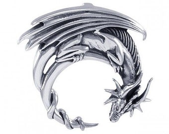 Dragon Necklace, Celtic Jewelry, Dragon Pendant, Moon Necklace, Wiccan Jewelry, Crescent Moon Pendant, Pagan Jewelry, Gothic Jewerly