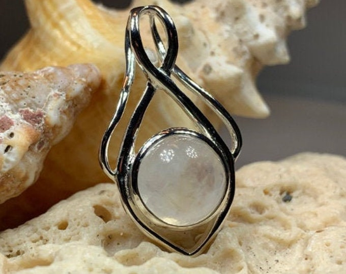 Moonstone Necklace, Moon Pendant, Celestial Jewelry, Celtic Jewelry, Anniversary Gift, Wiccan Jewelry, Pagan Necklace, Girlfriend Gift