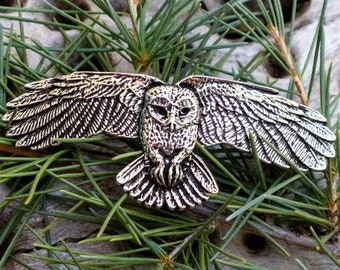 Owl Hair Clip, Celtic Barrette, Owl Jewelry, Pagan Jewelry, Friendship Gift, Wiccan Jewelry, Native American Jewelry, Animal Barrette