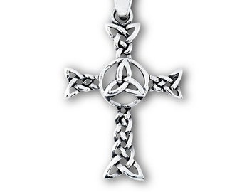 Sterling Silver Trinity Knot Celtic Cross Necklace, Irish Cross, Gift for Her, Unique Cross