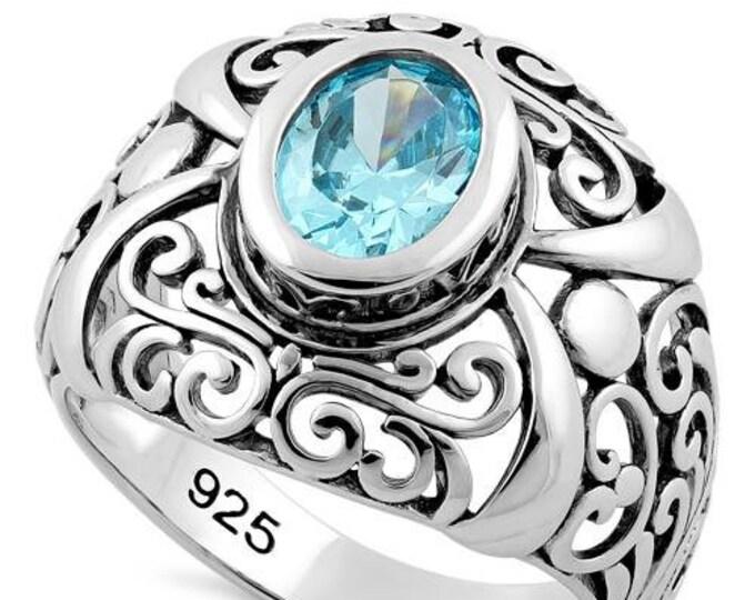Celtic Knot Ring, Celtic Jewelry, Irish Jewelry, Blue Topaz Ring, Irish Ring, Irish Dance Gift, Anniversary Gift, Bridal Ring, Wiccan