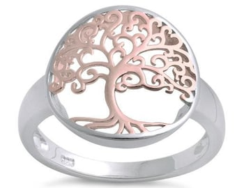 Tree of Life Ring, Celtic Jewelry, Irish Jewelry, Norse Jewelry, Tree Ring, Rose Gold, Anniversary Gift, Bridal Jewelry, Mom Gift, Wife Gift