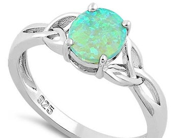 Irish Rain Celtic Ring, Celtic Jewelry, Irish Jewelry, Opal Jewelry, Trinity Knot Jewelry, Anniversary Gift, Bridal Jewelry, Mom Gift