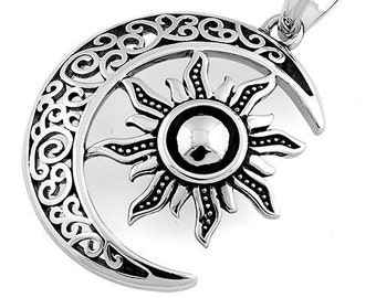 Moon Necklace, Sun Necklace, Celestial Jewelry, Mystical Jewelry, Wiccan Jewelry, Celtic Pendant, Crescent Moon Pendant, Pagan Necklace