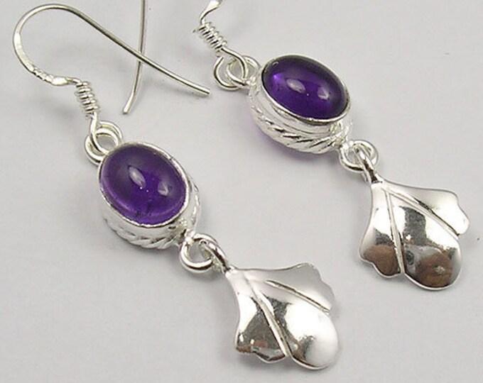Celtic Leaf Earrings, Celtic Jewelry, Irish Jewelry, Celtic Knot Jewelry, Bridal Jewelry, Amethyst Jewelry, Scotland Jewelry, Mom Gift