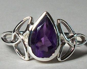 Celtic Knot Ring, Celtic Jewelry, Irish Jewelry, Amethyst Ring, Irish Ring, Irish Dance Gift, Anniversary Gift, Bridal Ring, Wiccan