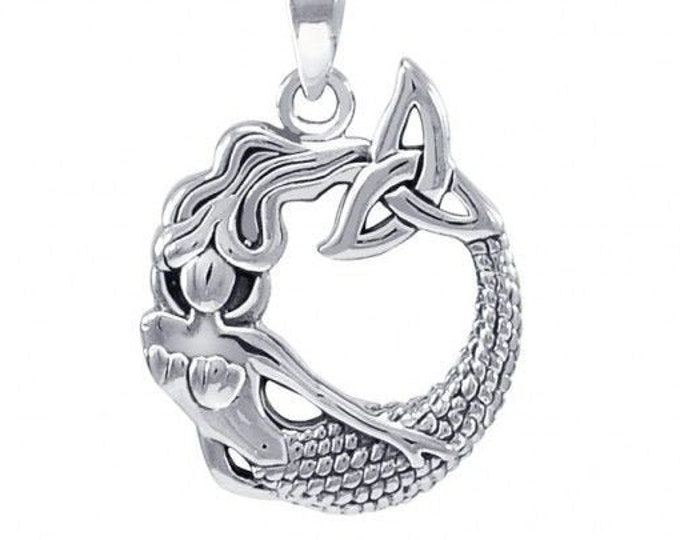 Mermaid Necklace, Celtic Jewelry, Trinity Knot Pendant, Sea Jewelry, Beach Jewelry, Ocean Jewelry, Sister Gift, Wife Gift, Anniversary Gift