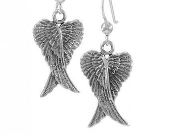 Angel Wings Earrings, Celtic Jewelry, Spiritual Jewelry, Anniversary Gift, Wings Jewelry, Bridal Jewelry, Memorial Jewelry, Survivor Gift