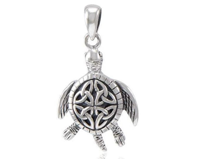 Celtic Sea Turtle Necklace, Trinity Knot Pendant, Celtic Jewelry, Sea Turtle Necklace, Ocean Jewelry, Nautical Jewelry, Wiccan Jewelry