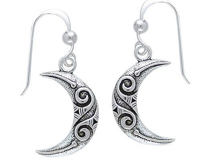 Moon Earrings, Celtic Jewelry, Wiccan Jewelry, Crescent Moon Earrings, Celtic Moon, Moon Goddess, Celestial Jewelry, Pagan Jewelry